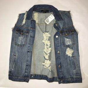 Jean vest with holes